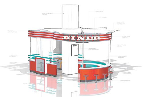 The new section of the McWane Science Center will have a diner, like the above rendering, as part of a real-life main street scenario to show how cities work.