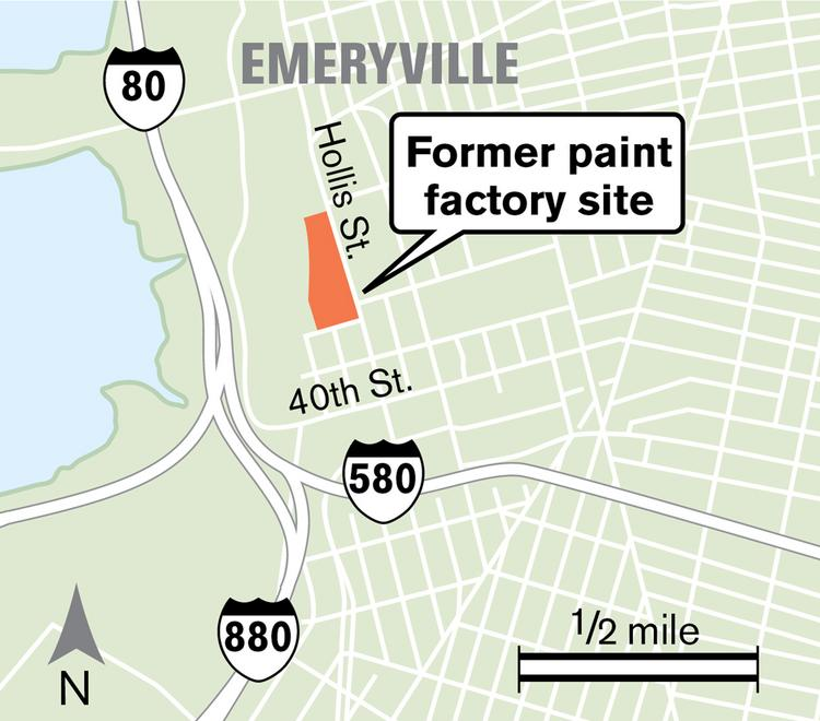 Location of the former Sherwin-Williams paint factory in Emeryville that could see up to 500 units of housing and 55,000 square feet of commercial space.