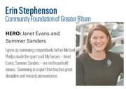 Stephenson, 35, is vice president of development at Community Foundation of Greater Birmingham. Some of her key accomplishments include her work with the Bama Rising tornado relief effort and helping secure a $5 million gift – the largest from a living donor in the foundation's history.   Click here to read the full profile
