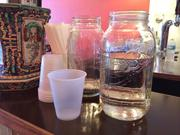 There's no soda fountain drink dispenser — but you can pour yourself a cup of water from a Mason jar. Appropriate for the Five Points neighborhood, Mexican coke with real cane sugar is also available, along with local beers, wines and blood orange Pellegrino.