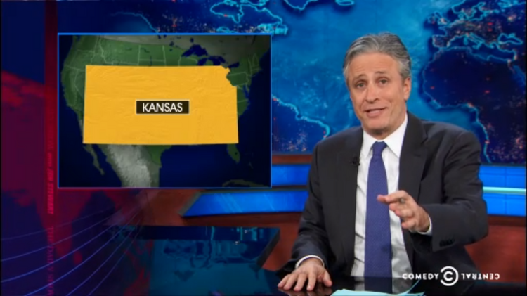 """Comedian Jon Stewart took on some Kansas politics on Thursday's edition of """"The Daily Show,"""" and the title of the segment says it all: """"The States: Meth Labs of Democracy."""""""