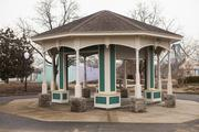 A renovated gazebo is shown inside the park.
