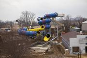 Finishing touches are being made on the new Plummet Summit water slide.