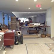 Workers put the finishing touches on the staff cafeteria.