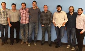 Swagbucks was co-founded by Josef Gorowitz, and Scott Dudelson, third and second from right, respectively. Click ahead to see more of the 110-member team.