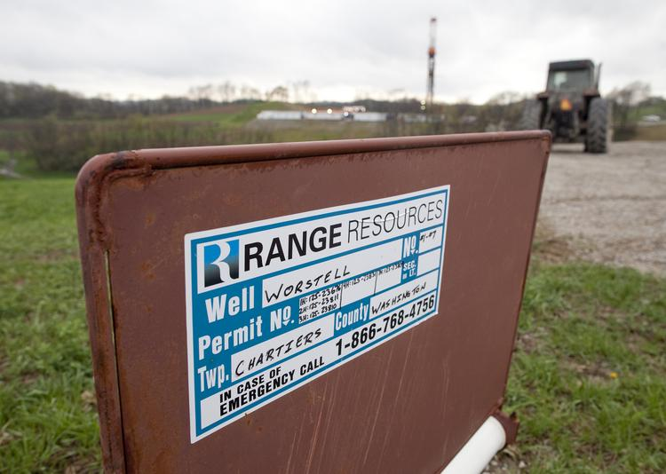 A Range Resources Ltd. sign sits on the Worstell natural gas well site in Chartiers Township, Washington County.