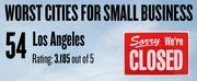 No. 54 -- Los Angeles, with small-business owners rating local governments 3.185 on a 1-5 scale. Data are weighted averages from a survey in 57 cities by Thumbtack.com.
