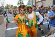 Universal actors looking snazzy in their Mardi Gras outfits.