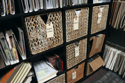 Storage shelves keep things tidy at Garrison Hullinger Interior Design's Portland offices.
