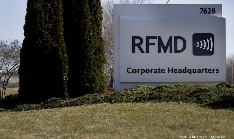 RF Micro Devices Inc. signage outside the company's headquarters in Greensboro, N.C.