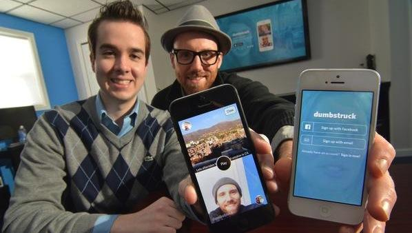 Michael Tanski (left) and Peter Allegretti are co-founders of the Dumbstruck app developed by their startup company Doctored Apps.