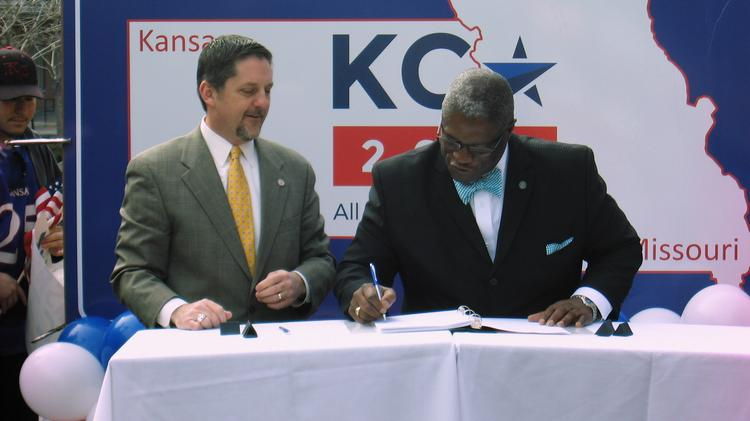 Kansas City Mayor Sly James and Mark Holland, mayor of the Unified Government of Wyandotte County/Kansas City, Kan., signed the response to the RFP for hosting the 2016 Republican National Convention.