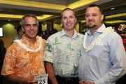 Giorgio Caldarone, Kamehameha Schools regional asset manager; Kawika Burgess, Office of Hawaiian Affairds chief operating officer; and Kaeo Duarte, Kamehameha Schools' West Hawaii director of strategic initiatives, at the Mahiai Match-Up Agricultural Business Plan Contest fundraising gala at Dole Cannery's Pomaikai Ballrooms.