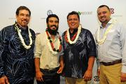 Business owners of Kaunamano Farms won second place in the first annual Mahiai Match-Up Agricultural business plan competition. Pictured from left, Keawe Liu, executive director, Ke Alii Pauahi Foundation; Max Bowman, of Kauna Mano; Brandon Lee of Kaunamano Farm and Kaeo Duarte, Kamehameha Schools' West Hawaii director of strategic initiatives at the Mahiai Match-Up Agricultural Business Plan Contest fundraising gala at Dole Cannery's Pomaikai Ballrooms.