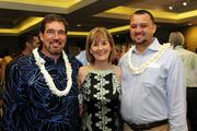 From left, Keawe Liu, executive director of Ke Alii Pauahi Foundation; Dee Jay Mailer, CEO of Kamehameha Schools and Kaeo Duarte, Kamehameha Schools' West Hawaii director of strategic initiatives at the Mahiai Match-Up Agricultural Business Plan Contest fundraising gala at Dole Cannery's Pomaikai Ballrooms.