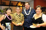 From left, Elizabeth Okada, chief financial officer for Kamehameha Schools; Steven Chiang of GoFarm Hawaii; Keawe Liu, executive director, Ke Ali'i Pauahi Foundation and Mahealani Matsuzaki, program specialist for Kamehameha Schools' Na Mamo Mahiai, at the Mahiai Match-Up Agricultural Business Plan Contest fundraising gala at Dole Cannery's Pomaikai Ballrooms.