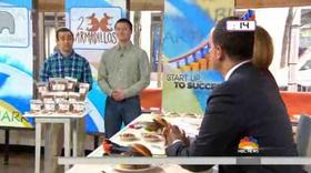 2Armadillos co-founders Greg Katz, left, and Jimmy Edgerton, make their small business pitch on the Today Show.