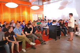 Paul Graham speaking to a group of Y Combinator companies in 2009.