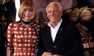Anna Wintour, editor-in-chief at American Vogue magazine, left, and Giorgio Armani, fashion designer, at a Metropolitan Museum of Art's Costume Institute exhibition in happier times back in 2008.