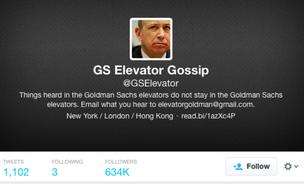The Goldman Sachs Elevator gossip account page.