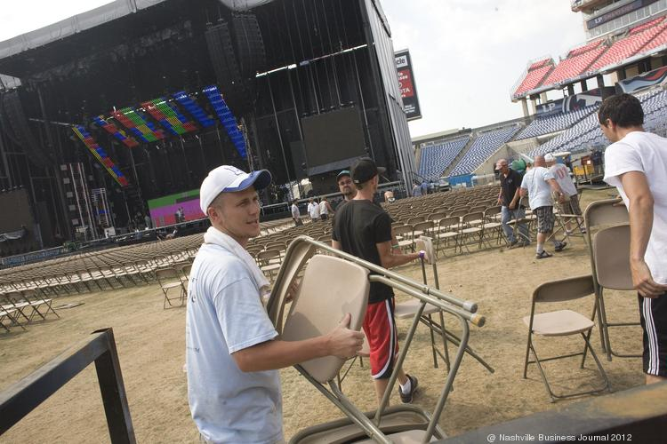 Volunteers work at LP Field getting ready for a previous CMA Fest.