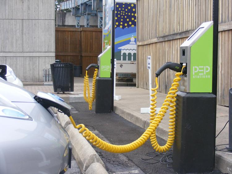 The new electric vehicle charging station was opened at Sawyer Point on Friday.