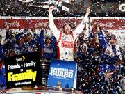 The National Guard's decision to drop its sponsorship of Dale Earnhardt Jr. comes at a time when the NASCAR driver is enjoying his best on-track performance in a decade. Here, Earnhardt celebrates in Victory Lane after winning the NASCAR Sprint Cup Series Daytona 500 in February.