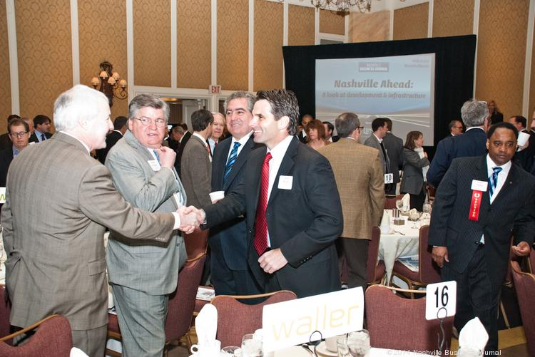 Guests network at Tuesday's Nashville Ahead panel discussion.