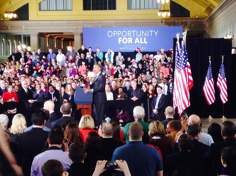 President Barack Obama stumped for increased infrastructure spending from St. Paul's Union Depot Wednesday.