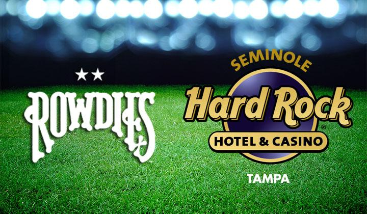 The Seminole Hard Rock and Rowdies sponsorship logo