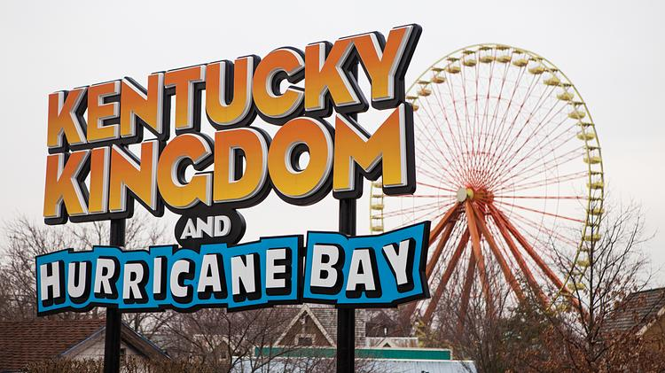 The new Kentucky Kingdom and Hurricane Bay sign inside the main entrance can be seen here.