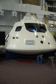 This model of the Orion Multi-Purpose Crew Vehicle allows JSC employees to work on new functions and installations for the spacecraft, which is intended to transport astronauts into deep space starting in 2021.