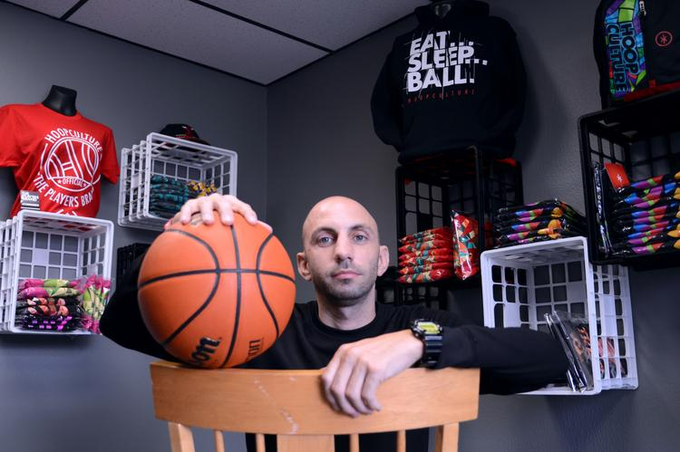 Mike Brown of Hoop Culture with some of the items his company offers