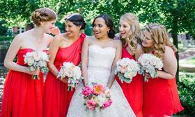Bridesmaids wear Little Borrowed Dress in varying styles, but all in the papaya color at a wedding in Alexandria, Virginia. Click ahead to see the founder.