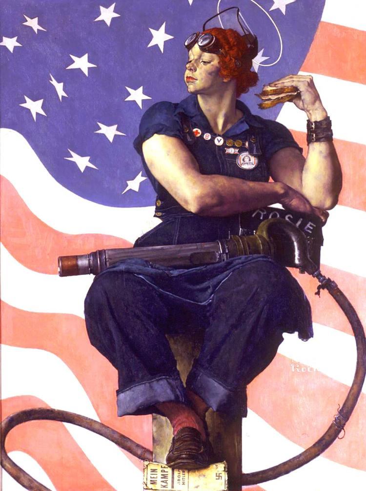 """Norman Rockwell's """"Rosie the Riveter."""" One of Rockwell's most iconic images, the oil on canvas has come to symbolize the role of U.S. women during World War II."""