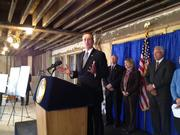 New York Lt. Gov. Robert Duffy speaks at a press conference at the former Proctor's Theater in downtown Troy, NY. The long vacant building is being redeveloped by Columbia Development Cos., which has owned the building since 2011.