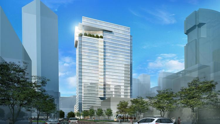 A view of Crescent's planned office tower from Caroline Street. It is being built for LEED Gold certification.