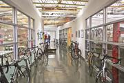 Employee bikes line the corridors at the Morgan Hill headquarters of Specialized. In addition to daily lunchtime bike rides, employees can work out in an on-site gym.
