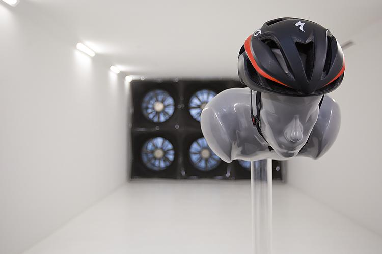 An up-close shot of aerodynamic testing in a custom wind tunnel at the Morgan Hill headquarters of Specialized Bicycle Components. About 80 athletes have already tested bikes, helmets and other gear at the recently opened facility.   Click the image for a full tour of Specialized HQ.