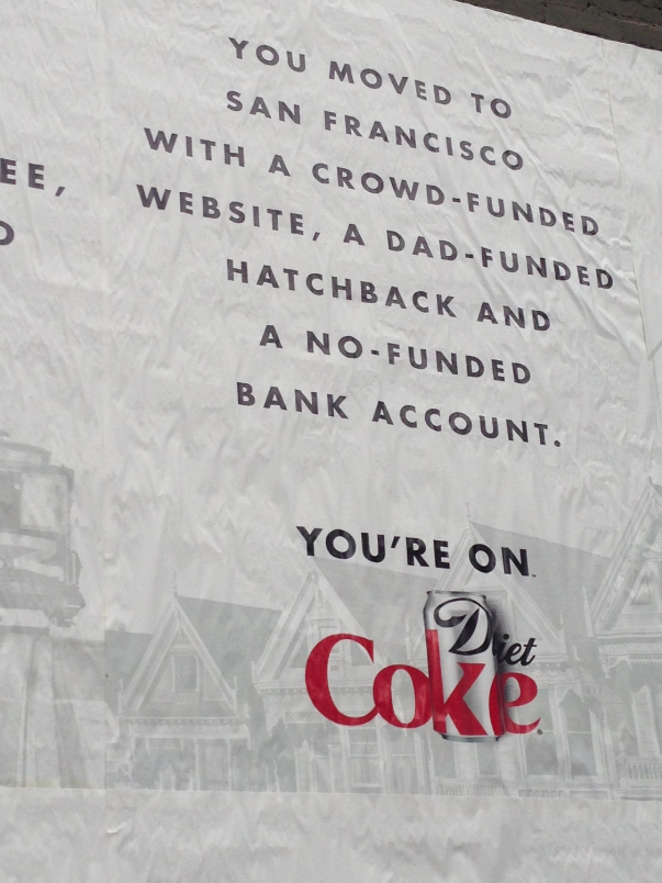 """Versions of an apparent hyper-local ad campaign in San Francisco show how the """"Diet"""" is slightly masked."""