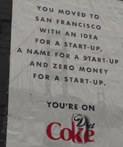 Versions of an apparent hyper-local ad campaign by Diet Coke have been spotted along Market Street, in SoMa and in the Mission in San Francisco.