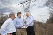 From left: R. David Joseph, an attorney for the Piedmont Triad Partnership, Sam Simpson, a Greensboro broker leading the option-gathering process, and David Powell, PTP president and CEO, at the 2,030-acre Randolph County megasite.