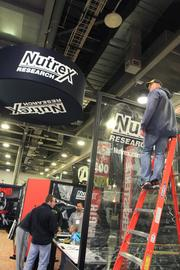 Nutrex Research out of Orlando has been to seven Arnold Sports Festivals. This is a new $100,000 display they are setting up for this year's show.