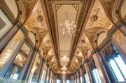 The ornate ceilings of the Renaissance Room at the Sentinel Hotel stand out with new light fixtures and paint.