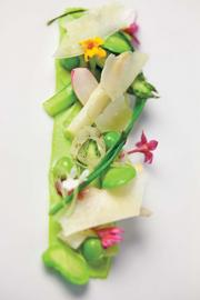 Orchids' English pea puree with favas, asparagus, tarragon and Parmesan