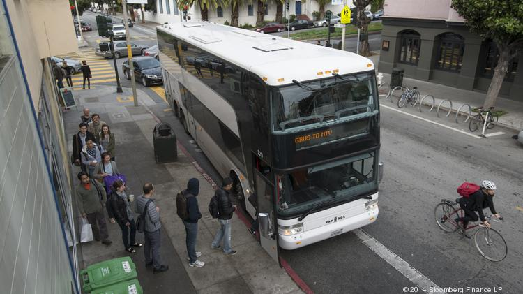 These workers are getting on a Google bus, which became a symbol of the tech shuttle issue.