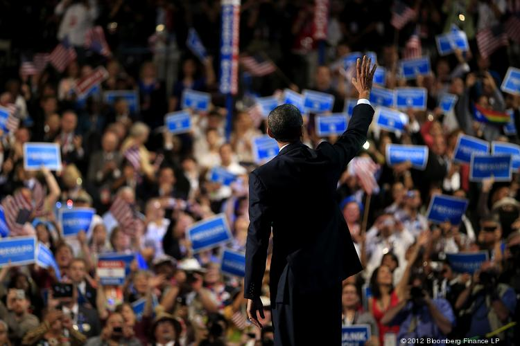 U.S. President Barack Obama waves after speaking during day three of the Democratic National Convention (DNC) in Charlotte, N.C., in 2012.