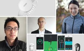 The founders of Moov, which created a motion-sensing fitness bracelet that connects to Siri and gives personal training commands are, from left: Tony Yuan, Nikola Hu, and Meng Li.