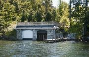 The boathouse big enough for several boats on Lake Winnipesaukee.