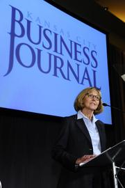 Joyce Hayhow, publisher of the Kansas City Business Journal, welcomes more than 370 attendees.